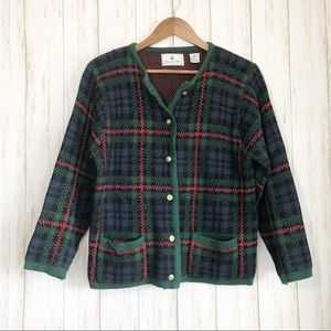 Vintage Chandler Hill green plaid cardigan sweater
